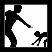 image of humiliation  - Concept sign of father or teacher who is intimidating and humiliating his child or student - JPG