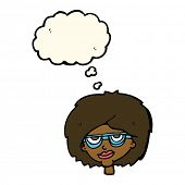 picture of spectacles  - cartoon woman wearing spectacles with thought bubble - JPG