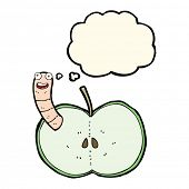 image of worm  - cartoon apple with worm with thought bubble - JPG