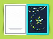 pic of crescent-shaped  - Elegant greeting card with flowers made crescent moon and Arabic calligraphy of text Eid Mubarak in star shape on lights decorated blue background - JPG