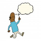 pic of bald man  - cartoon bald man with idea with thought bubble - JPG