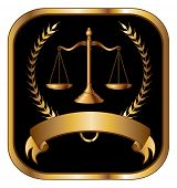 stock photo of lawyer  - Law or Lawyer Seal Gold is an illustration of a design for law - JPG
