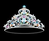 stock photo of crown jewels  - illustration crown tiara women with glittering precious stones - JPG