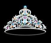 picture of precious stone  - illustration crown tiara women with glittering precious stones - JPG