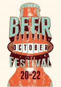 foto of drawing beer  - Beer Festival vintage style grunge poster with a beer bottles - JPG