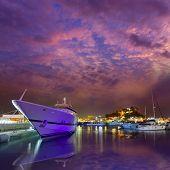 image of marina  - Denia port sunset dusk in marina at Alicante Spain - JPG