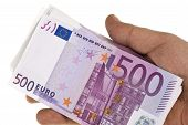 Stack Of 500 Euro In Hand