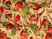 foto of cooked crab  - close up of italian crab and cherry tomato spaghetti pasta food background - JPG