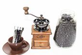 picture of blender  - coffee blender spinner with coffee bean in glass jar and coffee bean bottle in ceremic cup - JPG