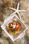 stock photo of scallops  - Presentation in flat nest of spaghetti sauce full of scallops  - JPG