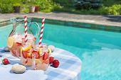 picture of jug  - Ice cold homemade strawberry lemonade in jug and glasses with paper straws on outdoor summer pool side table plus copy space - JPG
