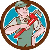 picture of overalls  - Illustration of a plumber in overalls and hat pointing monkey wrench looking to the side set inside circle on isolated background done in cartoon style - JPG