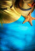 picture of beach shell art  - art beach accessories on wooden board - JPG