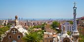 picture of gaudi barcelona  - Park Guell by architect Gaudi in a summer day  in Barcelona - JPG
