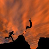image of gap  - Concept or conceptual young 3D man or businessman silhouette jump happy from cliff over  gap sunset or sunrise sky background - JPG