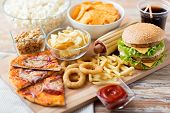 pic of food  - fast food and unhealthy eating concept  - JPG