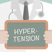 stock photo of hypertensive  - minimalistic illustration of a doctor holding a blackboard with Hypertension text - JPG