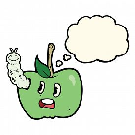 picture of caterpillar cartoon  - cartoon apple with bug with thought bubble - JPG