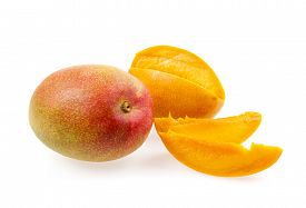 picture of mango  - Whole and cut mangos with mango fruit slices isolated on white background - JPG