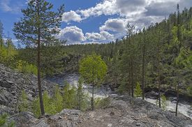 image of murmansk  - Top view of a mountain river - JPG