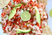 stock photo of poblano  - camaron shrimp ceviche raw seafood salad typical Mexican food with chili sauces - JPG