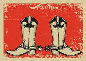 Cowboy Boots .vector Graphic Image  With Grunge Background