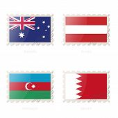 Постер, плакат: Postage Stamp With The Image Of Australia Austria Azerbaijan Bahrain Flag