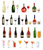 image of wine bottle  - Set of different drinks and cocktails - JPG