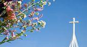 Easter Resurrection - Spring Blossom And Cross