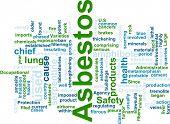 Word cloud concept illustration of  asbestos hazard