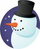 Smiling cheery snowman in tophat, winter scene illustration