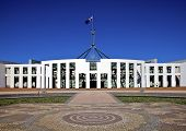 Giant lag flies over Parliament House in Canberra