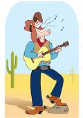 Singing Cowboy .vector Comic Cartoons Man In Hat And Play A Guitar