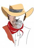 Vector Portrait Of Cowboy On White.stronge Man In Cowboy Hat