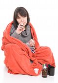 stock photo of barfi  - young adult sick woman - JPG