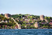 stock photo of judas tree  - Istanbul Rumeli Fortress in Spring in Turkey - JPG