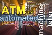 Software package box Word cloud concept illustration ATM Automated Teller Machine