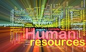 Background concept illustration of human resources management glowing light effect