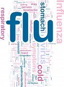 Word cloud concept illustration of  flu influenza