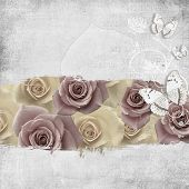 Retro Background With  Flowers And Butterfly
