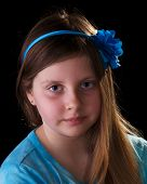 picture of mona lisa  - Young girl in blue with flower in her hair on black - JPG