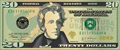 stock photo of one hundred dollar bill  - A stylized drawing of a 20 dollar bill banknote - JPG