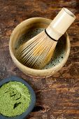 Green Powder Tea And Whisk