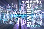 Word cloud concept illustration of swine flu glowing neon light style