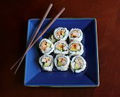 Sushi On Blue Plate