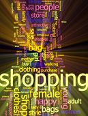 Word cloud concept illustration of consumer shopping glowing light effect