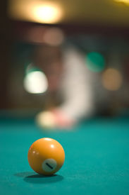 picture of pool ball  - yellow pool ball - JPG