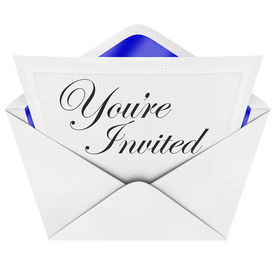 pic of cursive  - An opening envelope revealing a formal invitation to a special party or event with the cursive hand - JPG