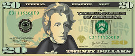 picture of one hundred dollar bill  - A stylized drawing of a 20 dollar bill banknote - JPG