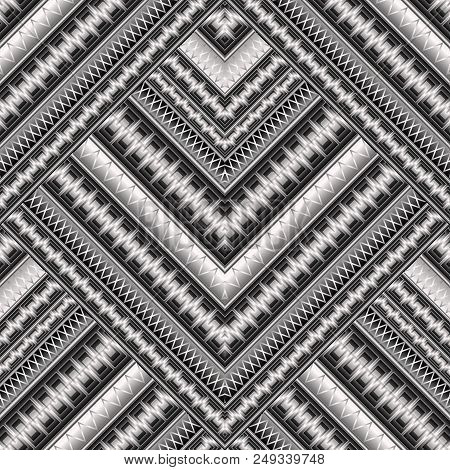Striped Geometric Abstract 3d Vector Seamless Pattern Greek Ornamental Background Geometry Shapes Poster